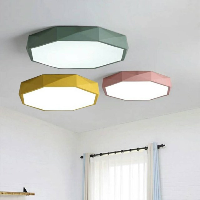Nordic living room lamp LED simple hexagon ceiling lamp postmodern     Nordic living room lamp LED simple hexagon ceiling lamp postmodern children  color room lamp book bedroom