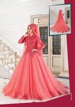 High Neck Long Sleeves Modest Türkische Muslimischen Abendkleid Coral Formale Kleid mit Spitze Appliques gelinlik robe de soiree