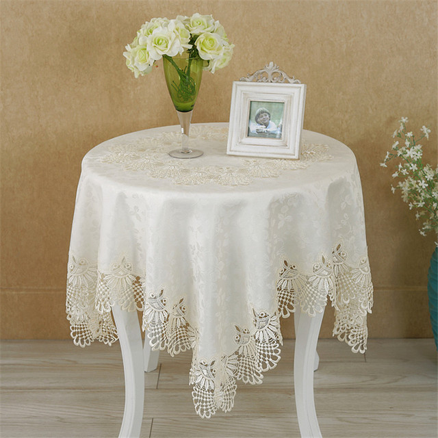 PanlongHome High End European Oval Rectangular Tablecloth Jacquard Square  Round Lace Tablecloths