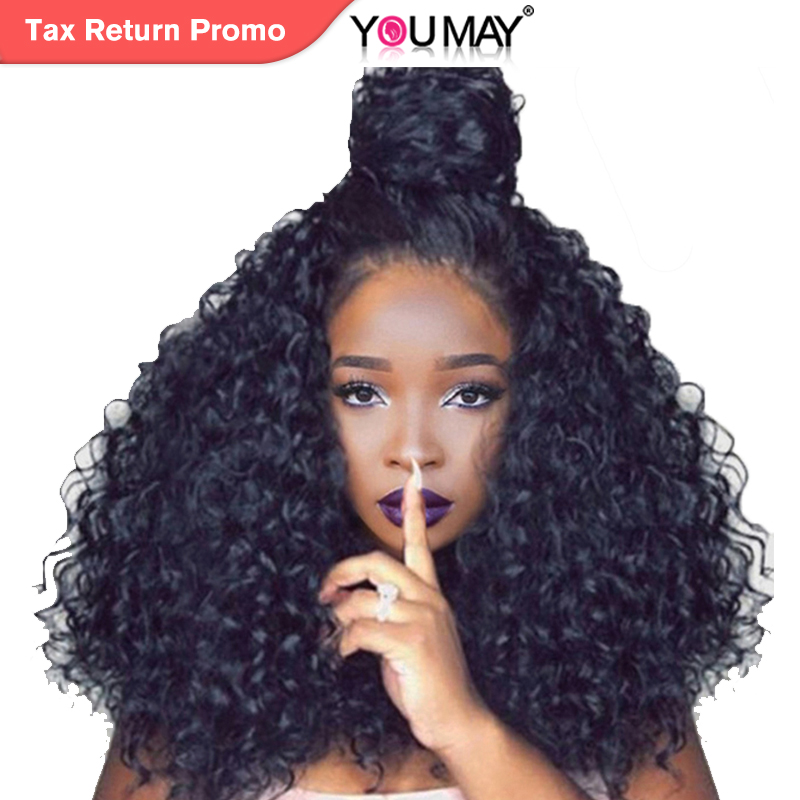 250% Tæthed Brazilian Curly Human Hair Parykker Full Ends Lace Front - Menneskehår (sort)