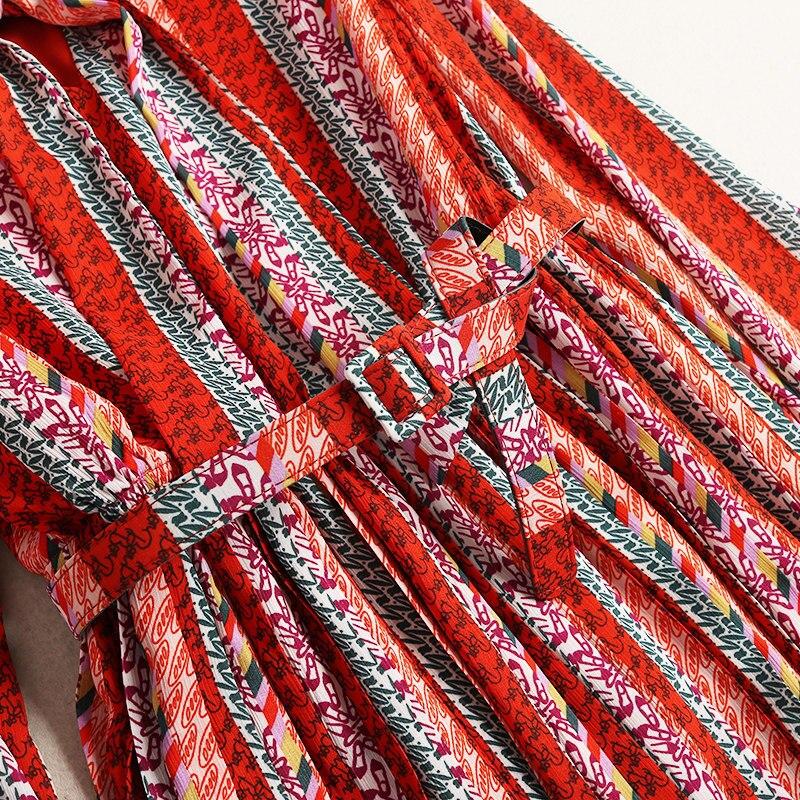 Shuchan Imprimer Mi Prairies Ceintures Multi Robes 10147 mollet Nouveau Boîtes Robe Nœud Des Longues Pour 2019 Femmes Papillon Chemise Chic Femme Pqwr67zP