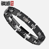 Hign Quality Men's Black Ceramic and Tungsten H Style Link Bracelet Inlay Carbon Fiber Male Gift
