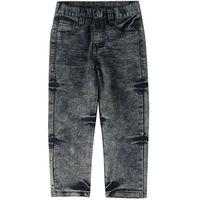 Boys Embroidery Letter Pattern Denim Jeans Kids Party Wear Trousers Children Casual Simple Style Pants KTJX