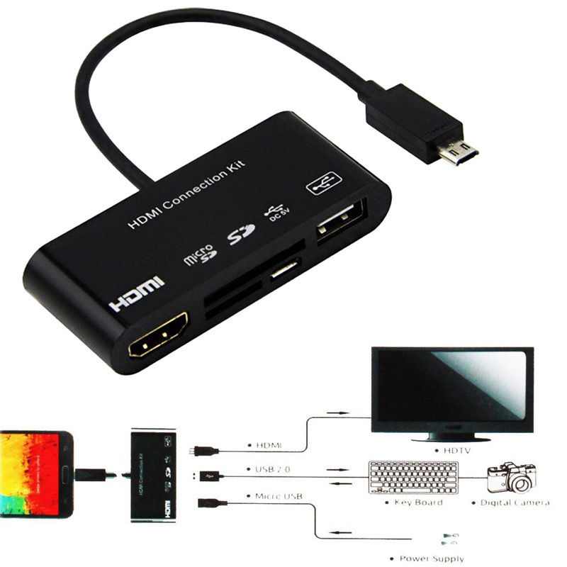5 In1 Micro-11p 11 Pin Micro USB OTG SD TF Card Reader Connection Kit HUB MHL TO HDMI HDTV Adapter Kit