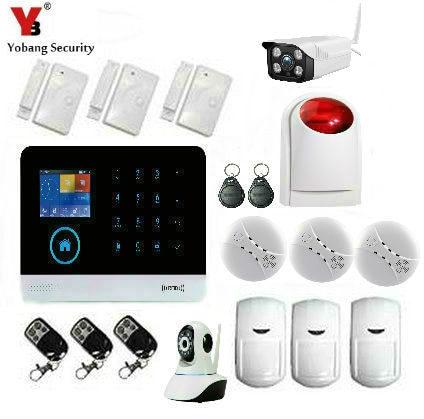 YobangSecurity WIFI 3G WCDMA Alarm System Home Burglar Alarm Touch Screen Wireless Alarm System Outdoor Indoor IP Camera
