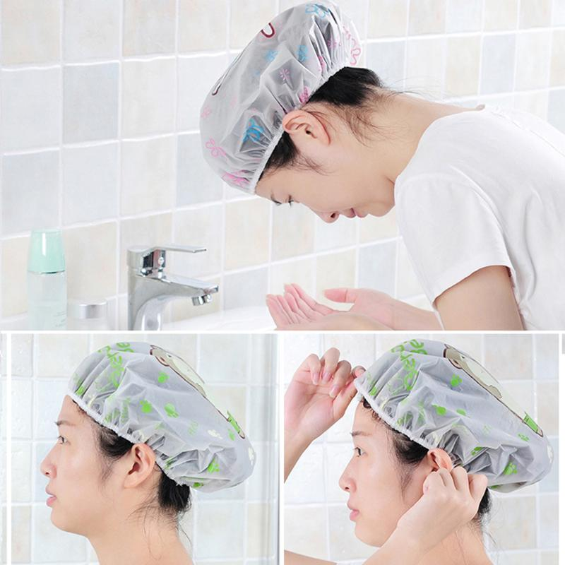 Cartoon Print Shower Cap Bathroom Accessories Waterproof Elastic Band Shower Cap Bath Hat Cartoon Shower Hats
