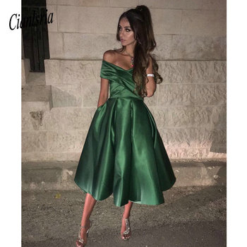 2020 Tea-Length Satin Off the Shoulder Homecoming Dress with Pockets