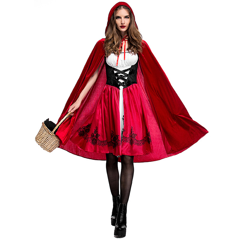 Adult Women Halloween Costume Little Red Riding Hooded Robe Lady Embroidery Dress Party Cloak Outfit For Girls Plus Size XXXL