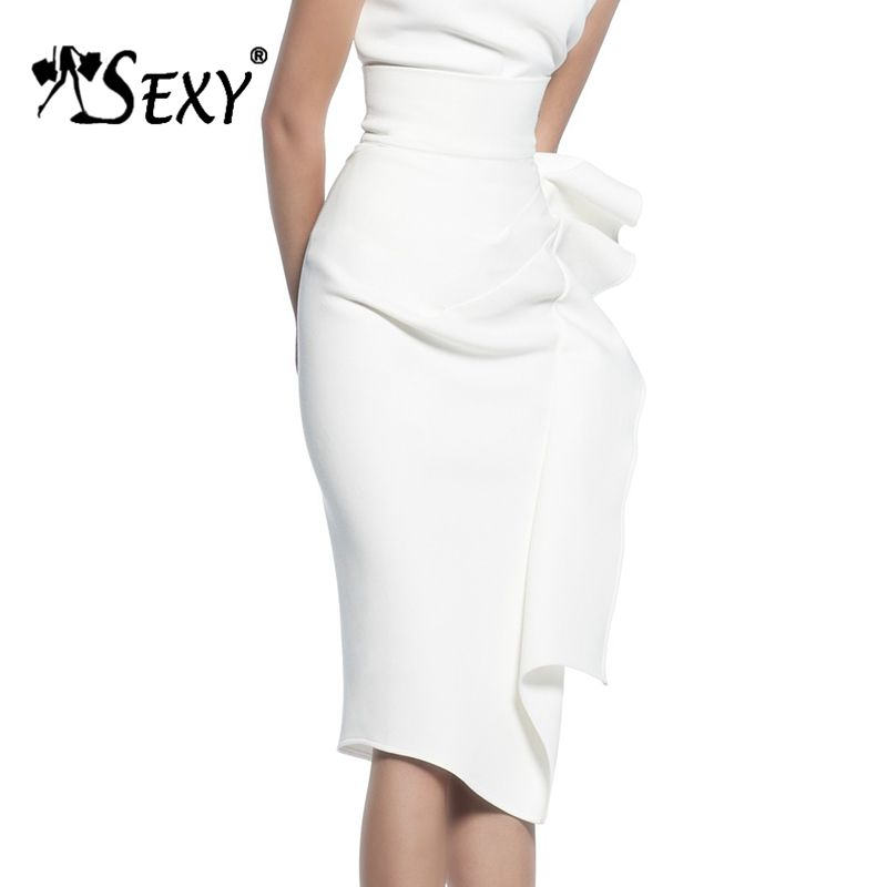 Gosexy 2019 New Sexy Pencil Bodycon Skirts Asymmetrical Ruffles Hem Midi Skirts Wear To Work Summer