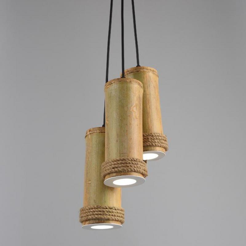 Retro Creative Bamboo Chandelier Antique Style Chandeliers Light Fixtures Loft Lustres E Pendentes Lighting