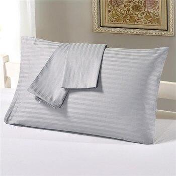 Fundas de almohada de algodón satinado rayas geométricas rejilla Europea almohada Shams funda de almohada de cama de rey blanco Set Kissenbezug