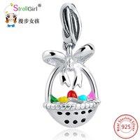 SG Sterling Silver Charms Pendants Fit Authentic Pandora Bracelet Silver 925 Original Fruit Basket For Women