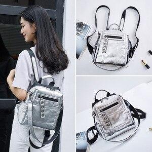 Image 2 - NIGEDU Glitter sırt çantası kadın omuzdan askili çanta çok fonksiyonlu gençler için sırt çantaları kızlar Schoolbag kadın sırt çantası seyahat çantası gümüş