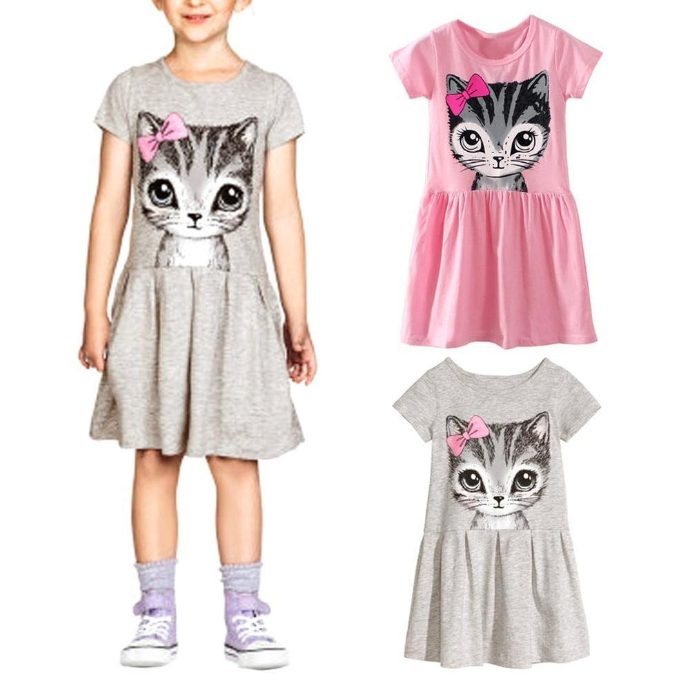 Toddler Baby Girl Kid Princess Casual Party Cat Printed Dress Summer Shirt Dress Clothes For 0-6 Years