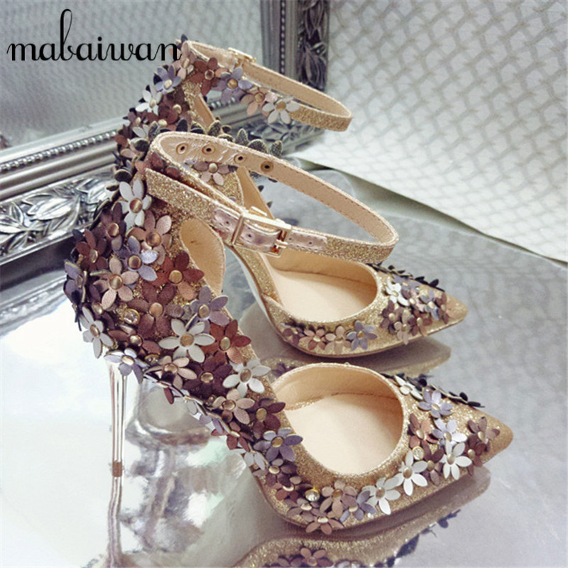 Mary Janes Pointed Toe Women Pumps Flowers Decor 10CM Thin High Heels Prom Wedding Dress Shoes Woman Stiletto Zapatos Mujer