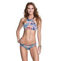 2018 Summer Geometry Printed Swimwear Women Sports Swimsuit Reversible Bikinis Sexy Pink High Neck Bikinis Set