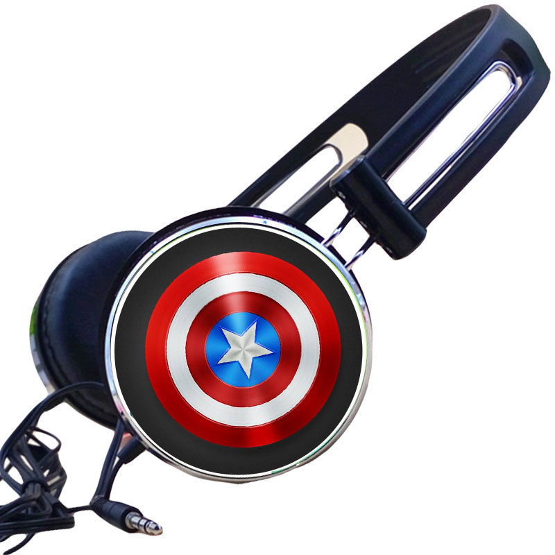 Custom Captain America Cosplay Comics Headphone Adjustable Sport Headphones Gaming Headset Stereo Headphone for Cellphone PC MP3