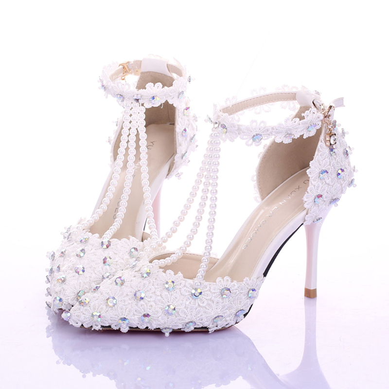 White Lace T strap Wedding Shoes Genuine Leather Rhinestone Pointed Toe font b Women b font