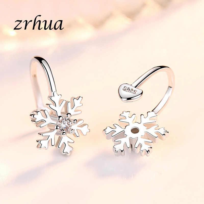 ZRHUA קוריאני סגנון קליפ עגילים לנשים בנות AAA ברור זירקון 925 כסף סטרלינג פרח Brincos אופנה תכשיטי חג המולד