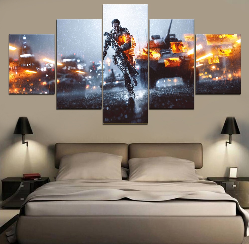 Battlefield Game Home Decor Modern 5 Piece Paintings Wall Art Canvas Painting HD Print Room Artwork