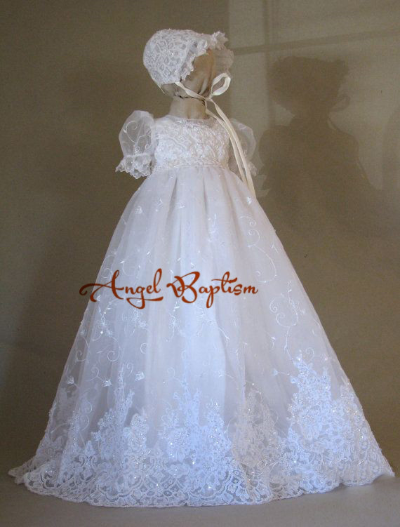 Handmade Brilliant Beaded Lace Baby Girl White/Ivory First Communion Dresses Christening Gown Baptism Dress With Bonnet 2016 appliques lace baby girl white ivory a line first communion dresses christening gown baptism dress with bonnet and cape