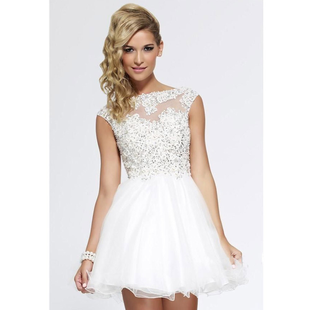 Vestido fiesta blanco corto