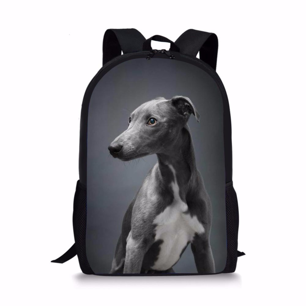 Children School Bag Dark Grey Italian Greyhound Printed for Teenager Boy Girl Kids Backpack Bookbag Satchel Mochila