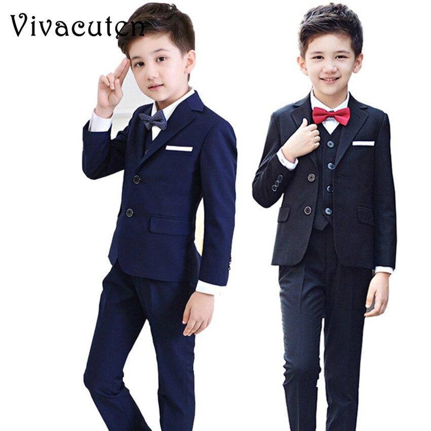 Fashion Boys Suits For Weddings Kids Prom Classic Costume Blazers Vest Pants Shirt Tie 5pcs Suit Set Children Clothing Sets F089