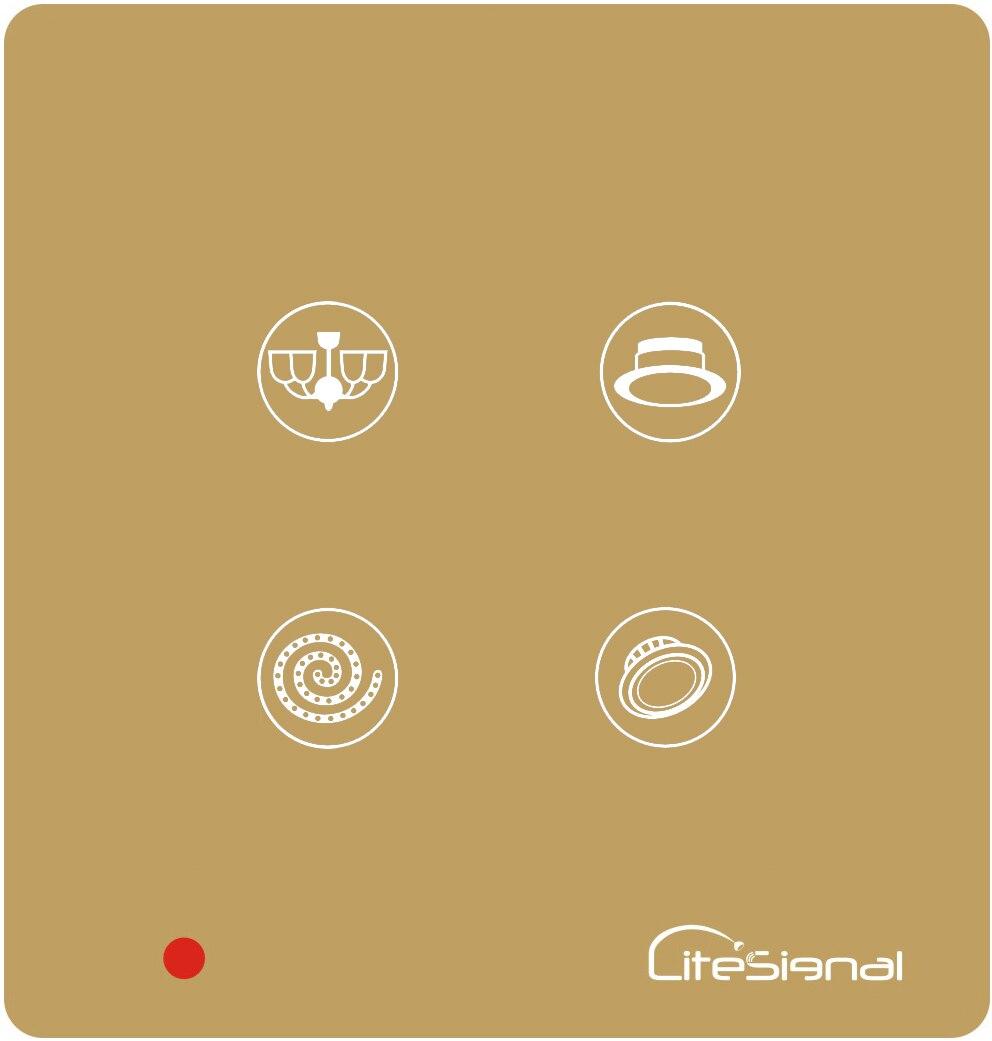 Умный домашний переключатель с сенсорной панелью, настенный выключатель, 4 комплекта, переключатель с пультом дистанционного управления, управление вне площадки-HOS-4 - Цвет: Золотой