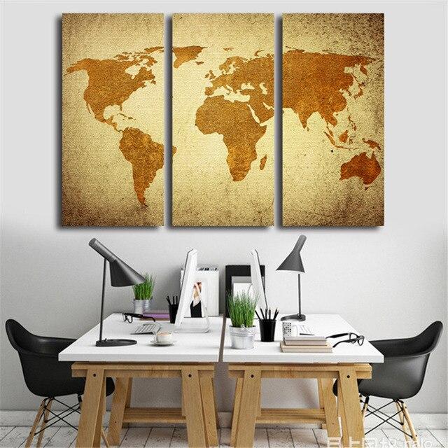 Good 3 Pcs Vintage World Map Wall Art Para Sala De Estar Amarelo Retro Mapas  Impressões Pintura
