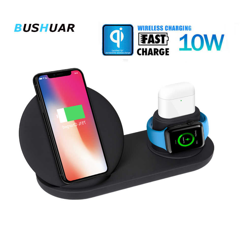 3 in 1  wireless charger for Samsung S10 iPhone XR XS Max X8 Airpods Fast Wireless Charging Dock Station for iWatch 1 2 3 4
