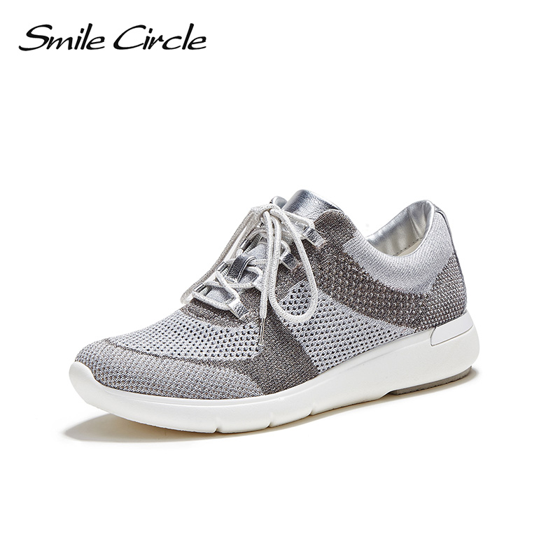 Smile Circle large size35-42 knit Sneaker for women Lace-up sock sneaker Lightweight Breathable Casual Shoes women kniting shoes цена