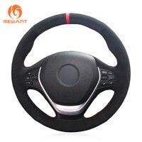 MEWANT Black Suede Red Marker Car Steering Wheel Cover for BMW F20 F21 F22 F23 F30 F31 F34 F32 F33 F36