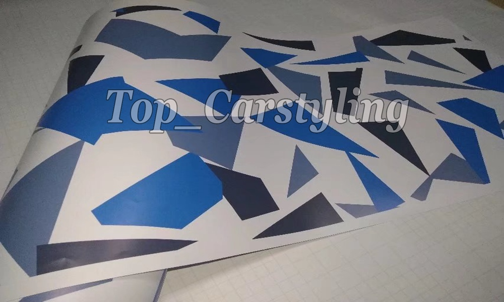 Protwraps Adhesive Blue White Camo Vinyl Wrap Camouflage Film With Bubble Free For Truck Boats