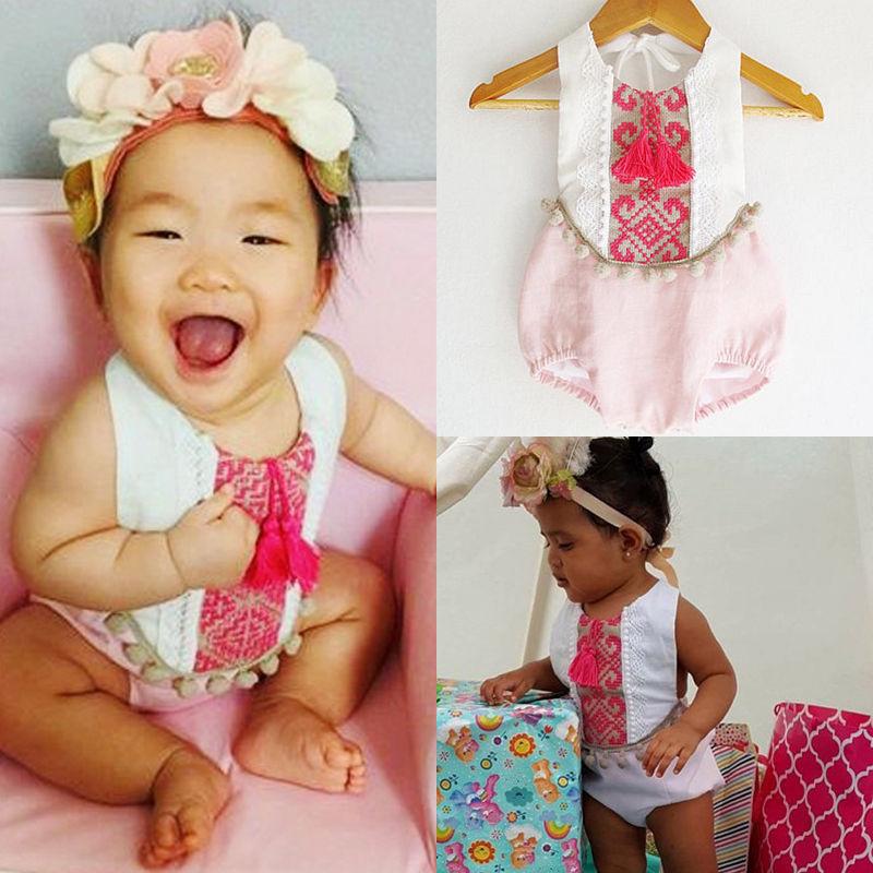 Newborn Infant Baby Girls Floral Bodysuit Romper Jumpsuit Clothes Outfit 0-24M