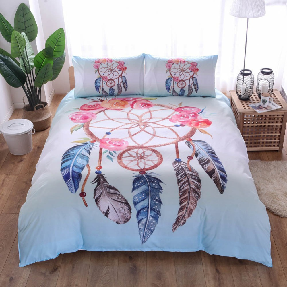 Dreamcatcher Bedding Set King Colorful Feathers Duvet Cover Set Bohemian Mandala Bedclothes 3pcs Black Home Textile Quilt Covers