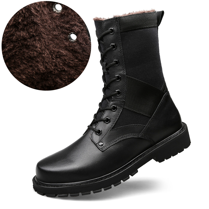 2019 Men Women Tactical Boots Winter Warmest High-Top Combat Boots Spring Genuine Leather Botas Mujer Female Ankle Boots image