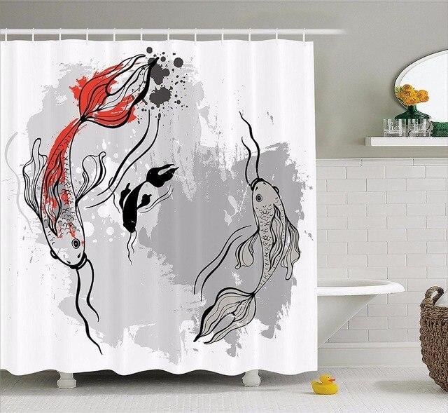 High Quality Arts Shower Curtains Setting Of Super Koi Ink Marine Theme Bathroom Decorative Modern Waterproof