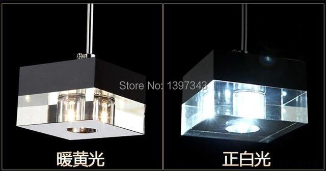 Wonderland Modern LED Crystal Ice Block Pendant Light Restaurant Lights 1/3/6 Heads Style 2015 Hot New PL-203