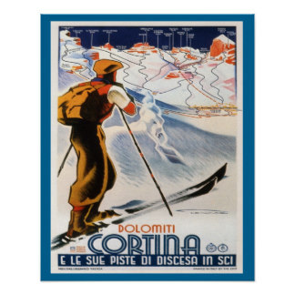 Ski Poster, Italy, Dolomites Cortina Trip Travel Retro Vintage Poster Decorative DIY Wall Art Home Bar Posters Decor