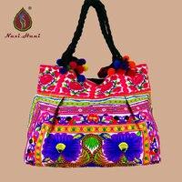HOT Bohemen geborduurde pioen patroon vrouwen schoudertassen Vintage kant handgemaakte pompon Katoenen doek Grote size etnische handtassen
