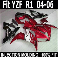 Injection molded fairings for Yamaha YZF R1 2004 2005 2006 red black motorcycle fairing kit YZFR1 04 05 06 NV56