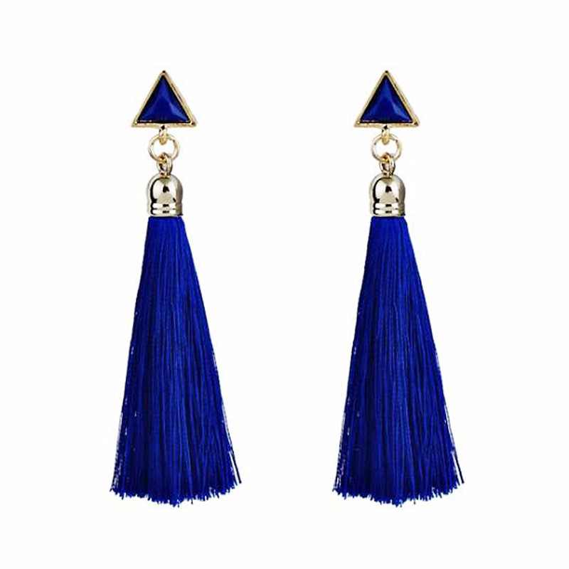 Qtian Fashion Triangle Drop Earrings Charm Long Tassel For Women Girls Party Vintage Ethnic Multicolor Earring Jewelry Gifts