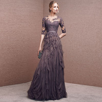 Luxury Dress Designers Scoop Neck Long Train Evening Gown Tulle A Line Long Party Dresses Appliques And Tiered Vestido Longo