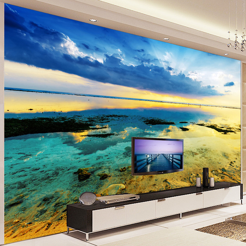 Custom any size 3d wall murals wallpaper beautiful beach for Custom size wall mural