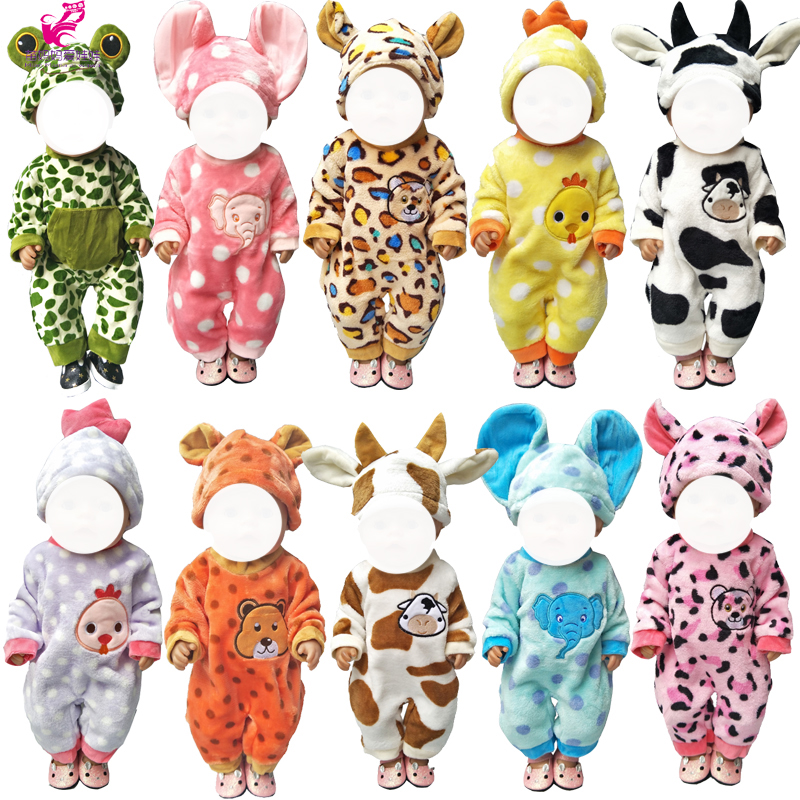 43cm  Bebe Born Doll Clothes Jumpsuit  Set For 18 Inch Doll Cute Animal Clothes