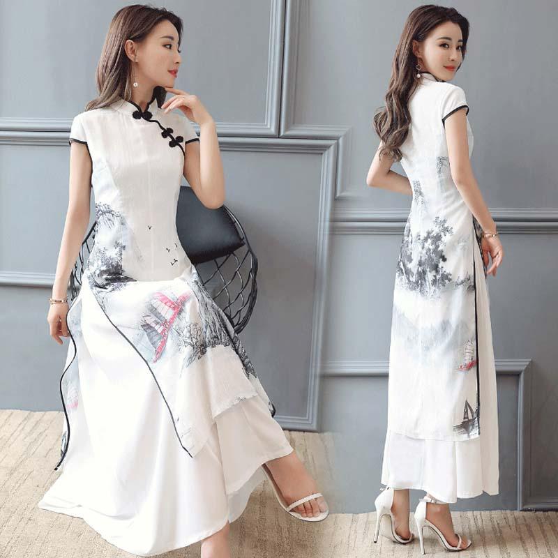 summer women cheongsam qipao evening dress chinese oriental Improved  Chinese Ink print dresses traditional chinese wedding 113c06b5ff3c