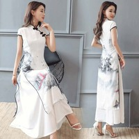 summer women cheongsam qipao evening dress chinese oriental Improved Chinese Ink print dresses traditional chinese wedding dress