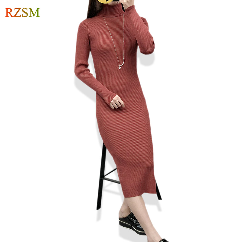 Autumn Spring Women Sweater Dress Turtleneck Knitted Sexy Bodycon Long Sleeve Office Long Dress Red Slits Basic Bottoming Dress long sleeve bodycon dress with slits