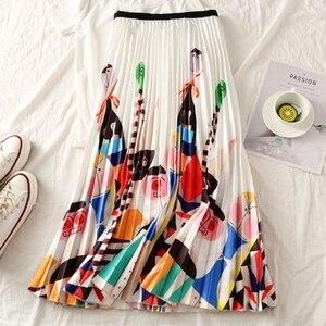 Image 4 - Falda larga plisada de talla grande para mujer, Falda plisada blanca y negra con estampado de dibujos animados, falda elástica informal de cintura alta para verano 2019